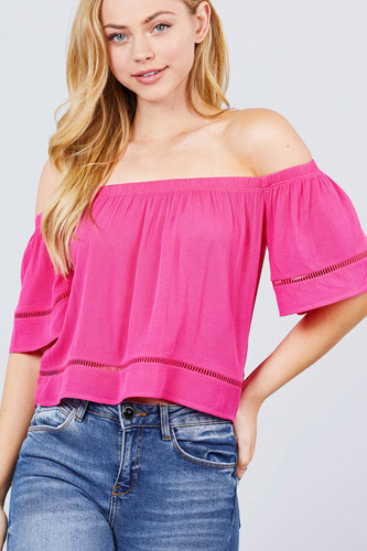 Elbow sleeve off the shoulder lace trim woven top-id.cc50915