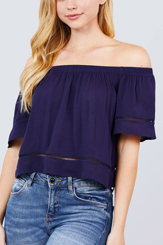 Elbow sleeve off the shoulder lace trim woven top-id.cc50915a