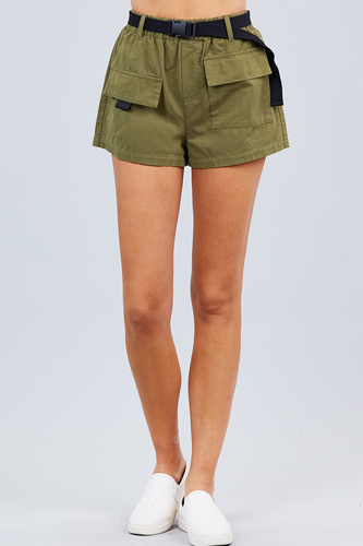 Twill belted side pocket cargo cotton short pants-id.cc50918a