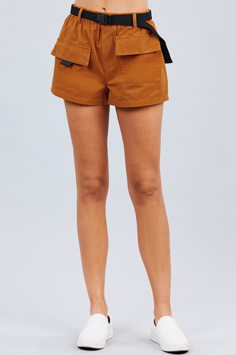 Twill belted side pocket cargo cotton short pants-id.cc50918b