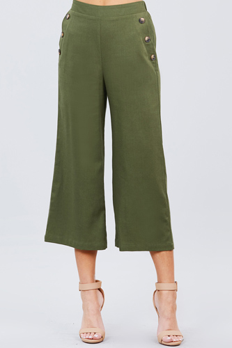 Fake pocket w/button detail wide long leg linen pants-id.cc50920a