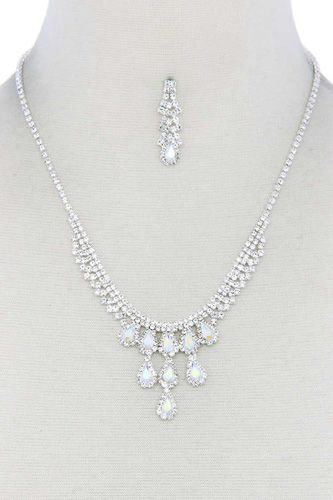Rhinestone teardrop shape necklace-id.cc50927