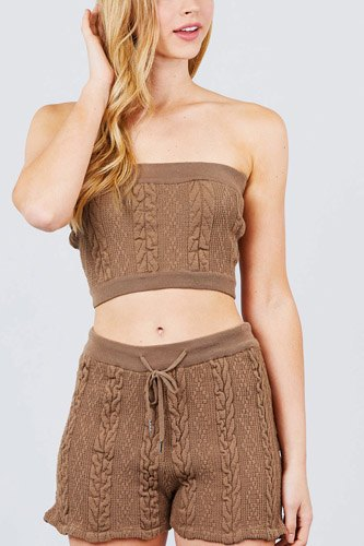 Cable detail sweater tube top and sweater short pants set-id.cc50972a