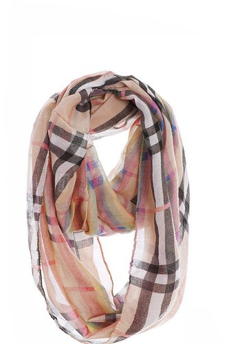 Fashion rainbow modern check infinity scarf-id.cc51004