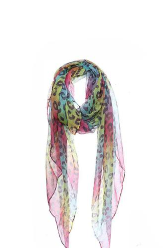 Fashion rainbow color leopard print scarf-id.cc51007