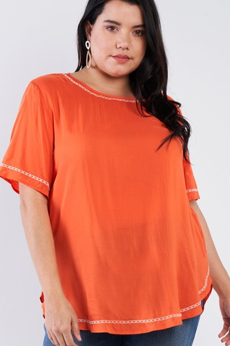 Plus size embroidered hem short sleeve top-id.cc51019