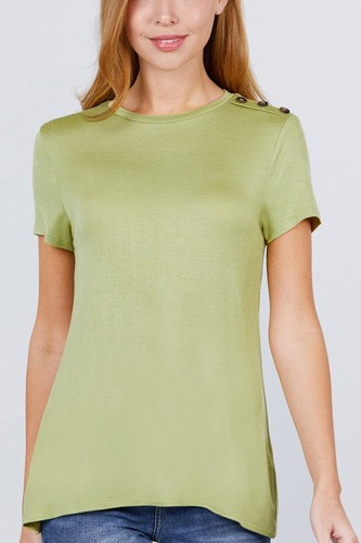 Short sleeve crew neck w/shoulder button detail rayon spandex top-id.cc51034