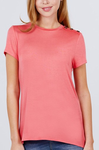 Short sleeve crew neck w/shoulder button detail rayon spandex top-id.cc51034c
