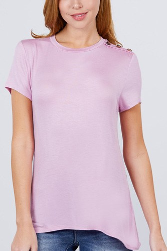 Short sleeve crew neck w/shoulder button detail rayon spandex top-id.cc51034h