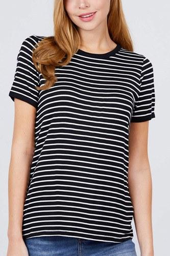 Short sleeve crew neck stripe rayon spandex ringer knit top-id.cc51038