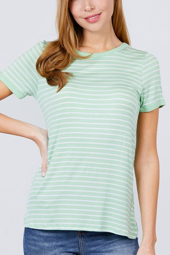 Short sleeve crew neck stripe rayon spandex ringer knit top-id.cc51038b