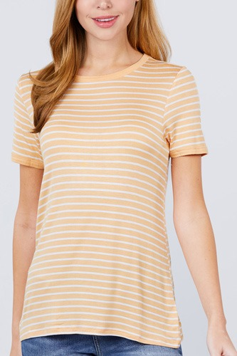 Short sleeve crew neck stripe rayon spandex ringer knit top-id.cc51038c