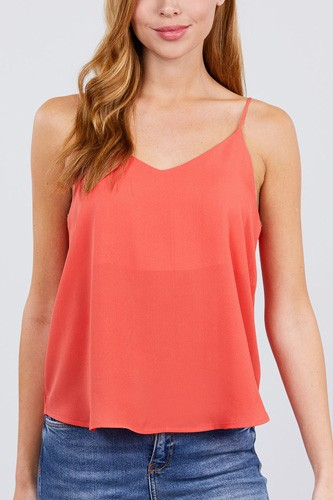 Double v-neck cami woven top-id.cc51039