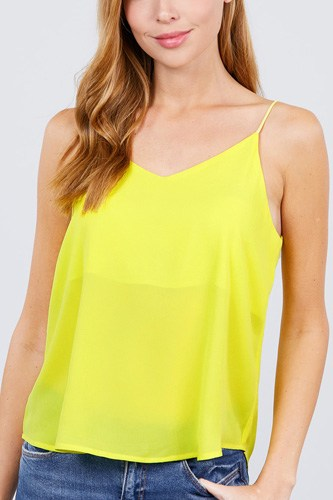 Double v-neck cami woven top-id.cc51039c