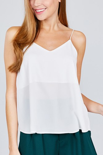 Double v-neck cami woven top-id.cc51039d