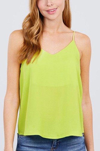 Double v-neck cami woven top-id.cc51039f