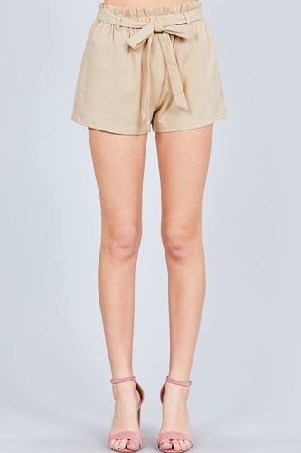 Paper bag w/bow tie short linen pants-id.cc51040