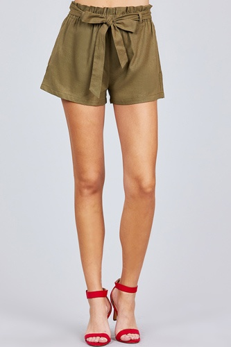 Paper bag w/bow tie short linen pants-id.cc51040d