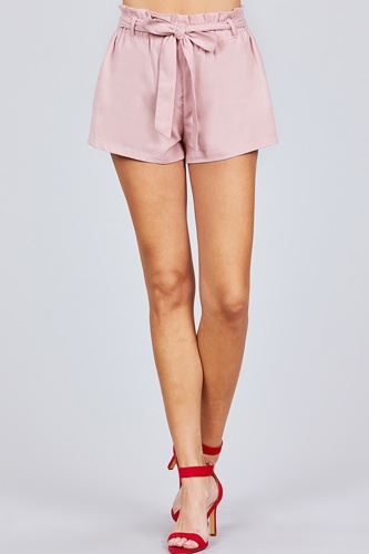 Paper bag w/bow tie short linen pants-id.cc51040e