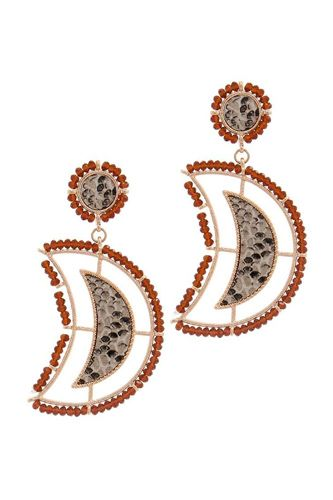 Beaded snake pattern post drop earring-id.cc51052