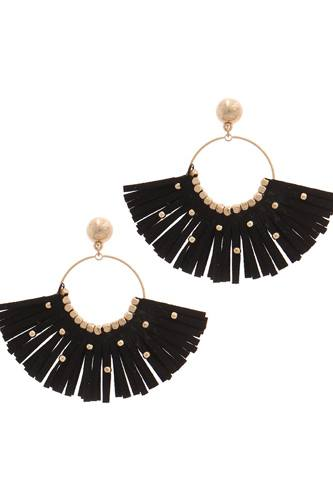Metal bead suede tassel drop earring-id.cc51054
