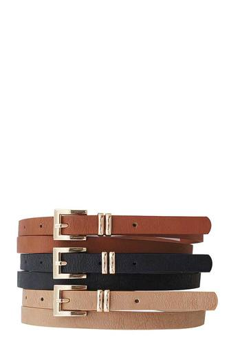 3 pcs. stylish angled buckle skinny belts-id.cc51071