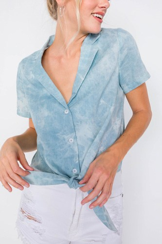 Blue v-neck front knot short sleeve tie dye crop top-id.cc51079