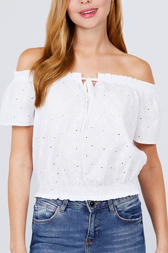 Short sleeve off the shoulder front tie detail smocked hem eyelet lace woven top-id.cc51092a