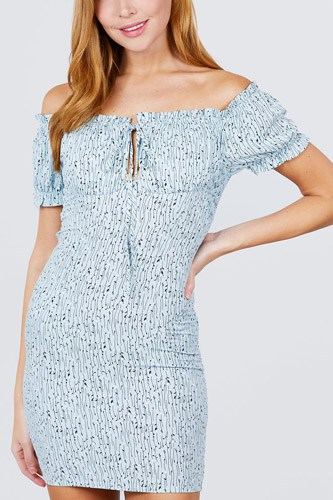 Short sleeve off the shoulder all over smocked print woven mini dress-id.cc51093