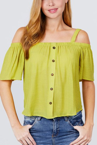 Elbow sleeve open shoulder button down woven top-id.cc51095a