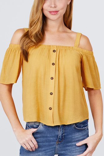 Elbow sleeve open shoulder button down woven top-id.cc51095b