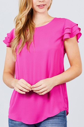 Short cap ruffle sleeve round neck woven top-id.cc51096a