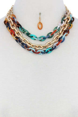 Triple layer multi color thick chain necklace and earring set-id.cc51109