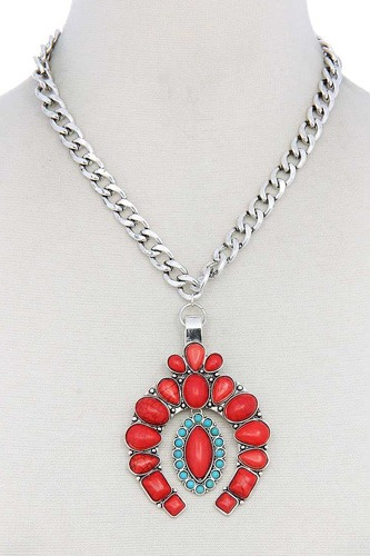 Multi stone pendant necklace-id.cc51110