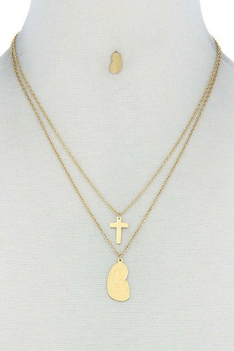 Stylish double layer cross and mary necklace and earring set-id.cc51124