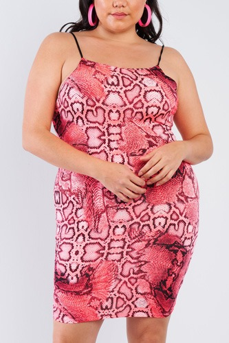Plus size snake print open back mini dress-id.cc51140a