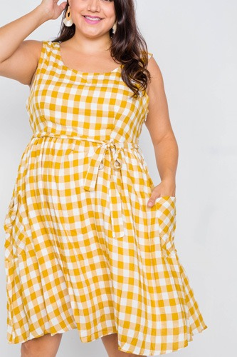 Plus size scoop neck side pockets checkered gingham midi dress-id.cc51142a