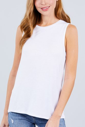 Sleeveless round neck rayon spandex knit top-id.cc51154f