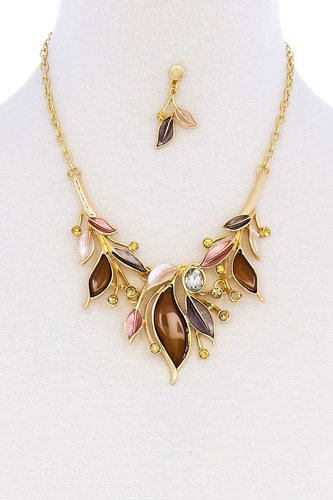 Stylish multi rhinestone leaf necklace and earring set-id.cc51159