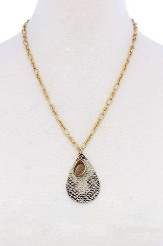 Stylish tear drop shape chain necklace-id.cc51161