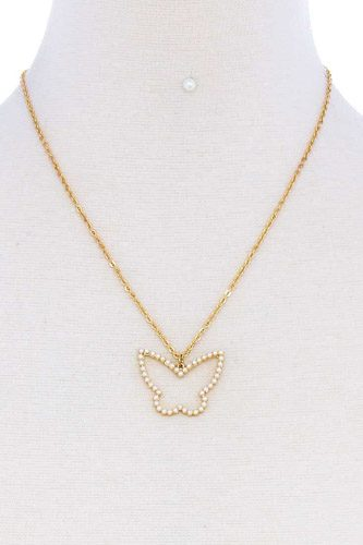 Stylish cute butterfly out line necklace and earring set-id.cc51162