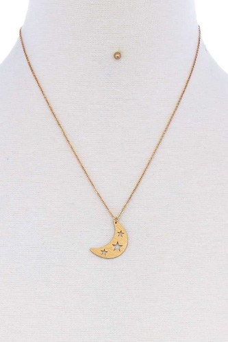 Crescent moon and star pendant necklace and earring set-id.cc51176