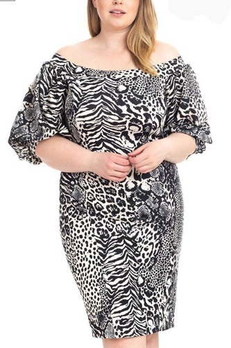 Plus size  animal print crepe stretch bodycon dress-id.cc51193