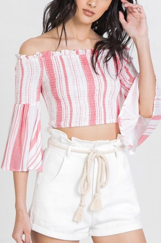 Striped off-the-shoulder gauze crop top-id.cc51210