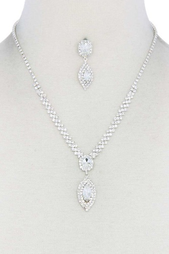 Marquise shape crystal rhinestone necklace and bracelet set-id.cc51241