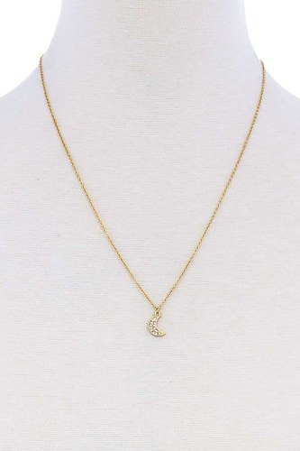 Cute trendy crescent moon rhinestone necklace-id.cc51244
