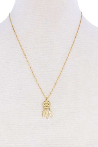Cute brass dream catcher pendant necklace-id.cc51246