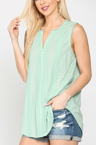 Sleeveless lace trim tunic top with scoop hem-id.cc51275