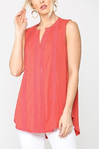 Sleeveless lace trim tunic top with scoop hem-id.cc51275a