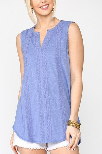 Sleeveless lace trim tunic top with scoop hem-id.cc51275b